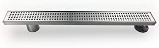 Neodrain 24-Inch Side Outlet Linear Shower Drain with Quadrato Pattern Grate, Brushed 304 Stainless Steel Rectangle Shower Floor Drain,Floor Shower Drain With Adjustable Leveling Feet,Hair Strainer