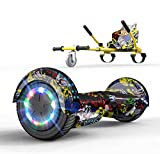 GeekMe Hover Scooter Boards mit Hoverkart, 6,5 Zoll Self Balance Scooter mit Hoverkart, LED-Leuchten und Bluetooth-Lautsprecher Kinder