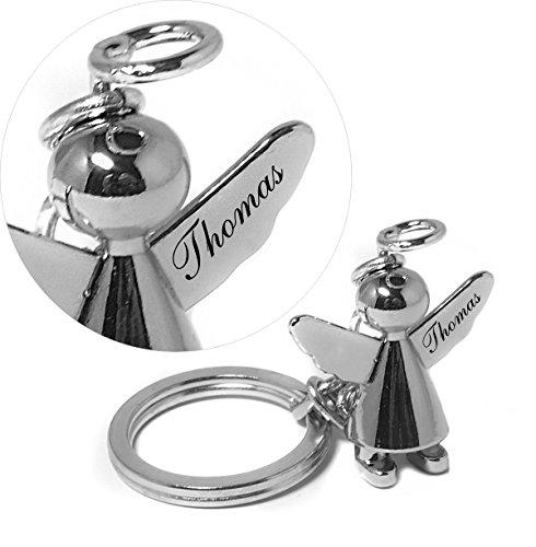 EIN hochwertiger Schutzengel Schlüsselanhänger in Chrom oder Matt mit Gravur Wunschname