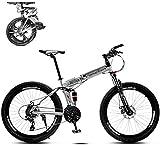 WJ Faltbare Mountain Bike 26 Zoll, 8 Sekunden Schnelles Folding MTB Fahrrad, 21 Geschwindigkeitsstahlrahmen Doppelscheibenbremse Adult Rennrad Für Off-Road Cycling-Reisen,A,26Inch