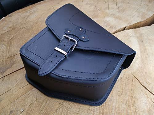 ORLETANOS Odin - Alforja para sillín compatible con Harley Davidson Schwinge Softail hasta 2017 y a partir de 2018, bolsillo lateral de piel auténtica, color negro