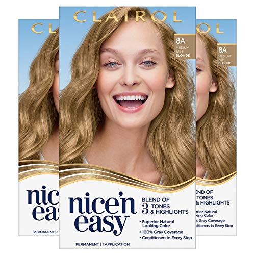 Clairol Nice'n Easy Permanent Hair Color, 8A Medium Ash Blonde, Pack of 3