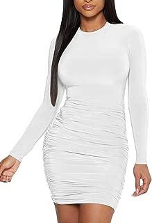 Mokoru Women's Sexy Basic Elegant Long Sleeve Ruched Bodycon Club Party Mini Dress