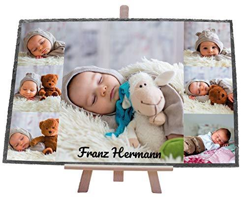 wandmotiv24 Schieferplatte mit eigenen Fotos zur Geburt, 30 x 20 cm, inklusive Staffelei, 7 Fotos + Name, Baby-Foto, Geschenk zur Taufe, Kinder, Babyparty, Neugeborenes, Geburtstag Junge M0400