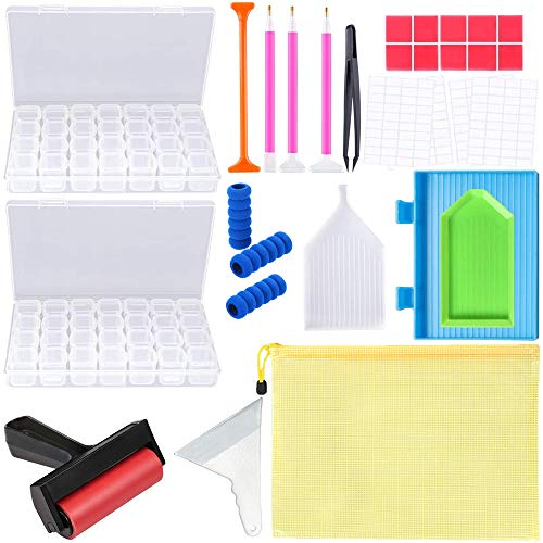 5D Diamond Painting Kits and Accessories with Diamond Painting Fix Tools and 2 Pack 28 grids Diamond Storage Boxes