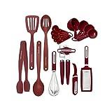 KitchenAid - Juego de herramientas y accesorios (15 piezas), color negro, Rojo, Juego de 17 piezas, 1