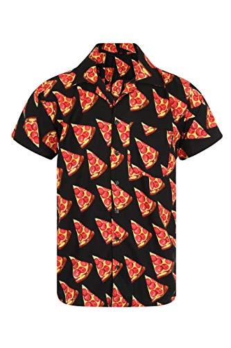 Pizza Shirt Hawaiian Shirt Mens Loud Aloha Holiday Fancy Dress Funny Takeaway (Medium) Black