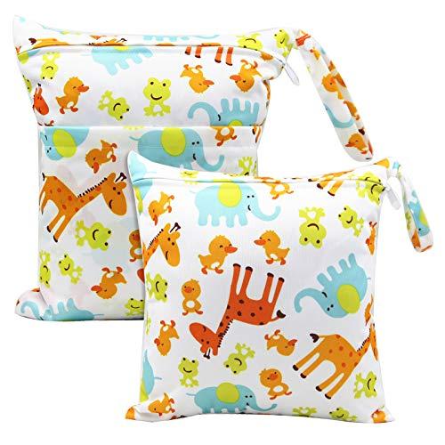 Bolsa de Pañales,2 Pcs Bolsa Pañales Reutilizable Impermeable Lavable con Doble Cremallera para Mamá y Bebé,Organizador de Maquillaje,Viajes,Piscina,Gym,Animales(S&L)