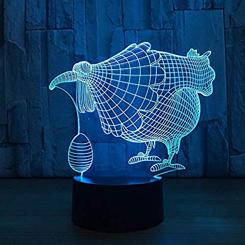Diaporama 3D kuiken ei, decoratief, LED-lamp, verjaardag, decoratie van het huis, grappig cadeau, wekker, basis 7 kleuren, Bluetooth 5 kleuren