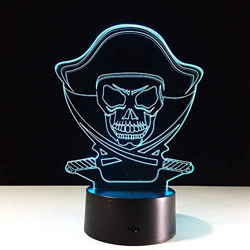 Lámpara de ilusión 3D de calavera para niños, niñas, regalo, luz de noche 3D para dormitorio junto a la mesa, lámpara de estado de ánimo de 16 colores cambiantes, lámpara de mesa de escritorio, r