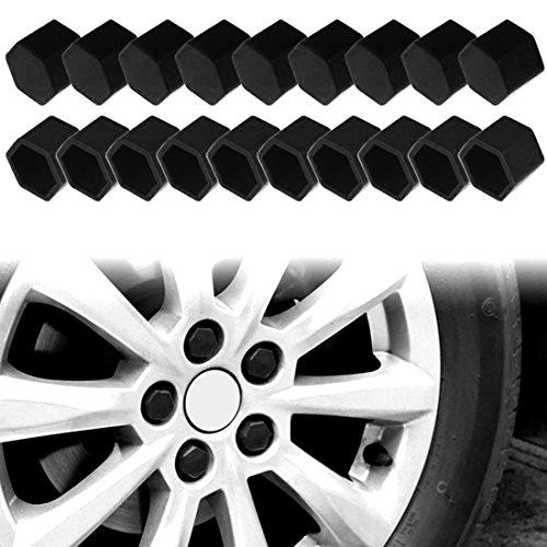 Andux Zone Roue Lug Nut Covers 21mm Silicone 20 Pièces LSBHT-01 (Noir, 19mm)