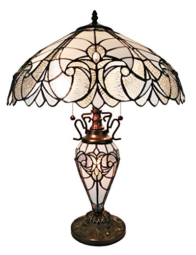 Tiffany Style Table Lamp Banker Glass Base 23 Tall Stained Glass White Grey Mahogany Elegant Vintage Light D