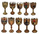 Ebros Set of 10 Ancient Egyptian Gods and Goddesses Wine Goblets in Golden Hieroglyphic Design 6oz Decorative Goblet Chalice of Anubis Horus Sekhmet Pharaoh Nefertiti Osiris Scarab Seth Isis Maat