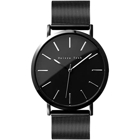 Daisya 腕時計メンズ - シンプル 日本製ムーブメント クォーツ時計 100%検品 合金 生活防水 日本製電池採用 カジュアル ファッション ビジネス ブラック 3年保証