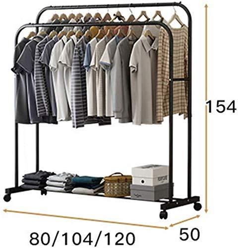 Kledingrek mantelhoed staande kledingrek rollen kledingrek met schoenenrek industriële pipe tas rack (kleur: zwart maat: 120 * 50 * 154 cm) 104 x 50 x 154 cm, zwart.