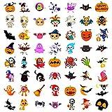 Qpout Tatuajes Temporales de Halloween para niños, 56 hojas de pegatinas de tatuajes de dibujos animados, calabaza, murciélago, bruja, araña, gato, tatuajes para niños y niñas regalos