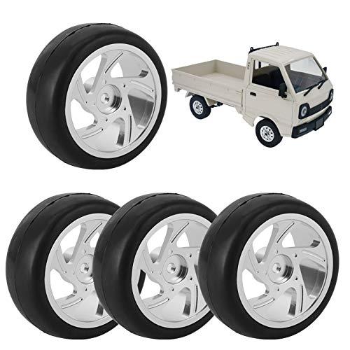 4 piezas de accesorios de cubo de rueda RC, neumáticos de goma de cubo de rueda de metal con control remoto de 63 mm con adaptador, neumáticos de coche RC para camión WPL D12 RC (plateado)