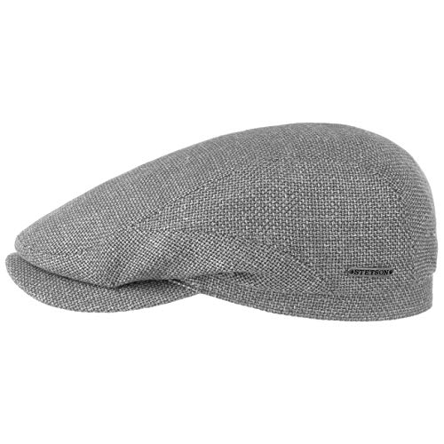 Stetson Taleco Wool Flatcap mit Leinen Schirmmütze Schiebermütze Wollcap Leinencap Herren - Made in The EU Schirm, Futter, Futter Frühling-Sommer - 57 cm grau