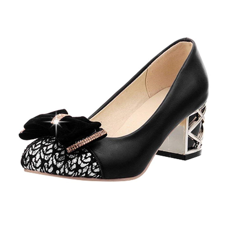 [KITTCATT] キラキラ靴 デザインヒール パンプス 蝶結び レースシューズ レディース グリッターシューズ 歩きやすい 靴飾りリボン 可愛いシューズ 太ヒール ミドルヒール