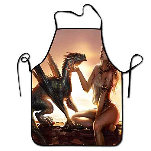 N\A Delantal Personalizado Daenerys targayen con Dragones Obra Personalizada Cocina Cintura Chef BBQ