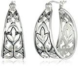 "Amazon Collection Sterling Silver Filigree Hoop Earrings (1.0"" Diameter)"