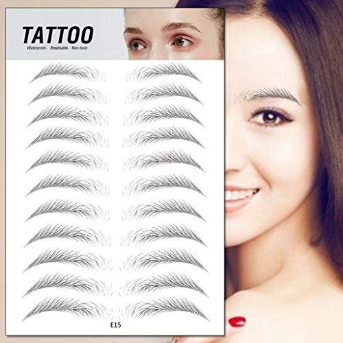 RoMantic Beauty 4D Sourcils Authentiques comme des Cheveux, Imitation écologique Tatouage Paresseux Sourcils Autocollants pour Femme et Homme Outil de Maquillage