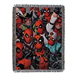 Marvel's Deadpool, 'We Are All Here' Woven Tapestry Throw Blanket, 48' x 60', Multi Color