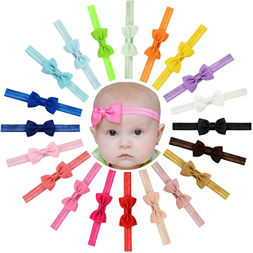 Product Image of the WillingTee Baby Girls Headbands Tiny Bows 2.75' Grosgrain Ribbon Hair Bow Hair...