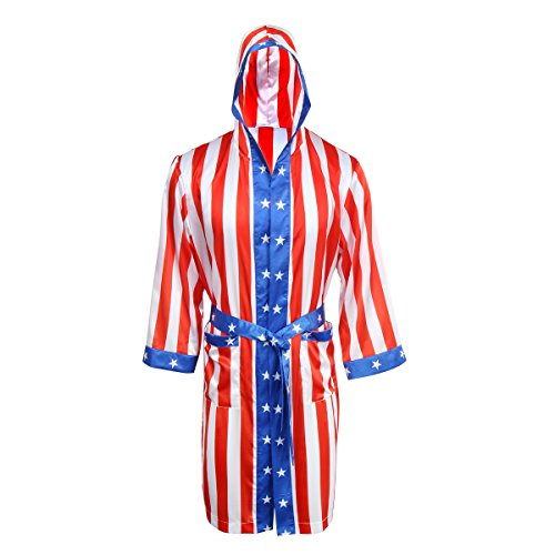 AMNPOLEN Adult Men Satin American Flag Boxing Costume Robe Cloak with Hood