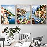 OKYQZ Wandkunst Bilder Mediterrane Gemälde Poster Leinwand Venedig Für Wohnzimmer Wohnkultur Seestück Malerei - 60 x 80 cm x3 Rahmenlos