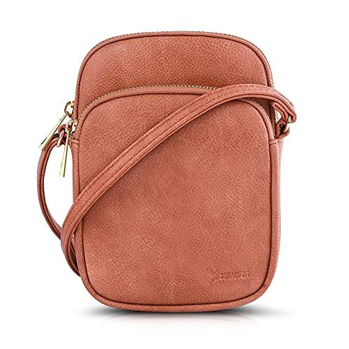 N\C Damen Schultertasche PU Leder Handtaschen Handy Umhängetasche Frauen Brieftasche Geldbörse mit Verstellbar Abnehmbar Schultergurt (Mandel)