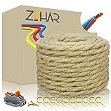 Cable de tela de 2 núcleos de 0,75 mm², vintage, cuerda de yute, cable de cáñamo, cable de cobre, cable eléctrico con pinzas de conexión, lámpara, DIY 10 m
