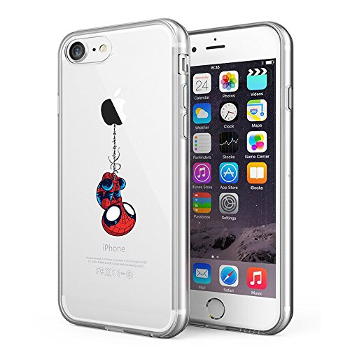 Litech Case for Apple iPhone SE (2020) / iPhone 7 / iPhone 8 [Flexfit] Premium Clear Scratch-Resistant Cute Creative Artistic Design [Wireless Charging Compatible] (Spider Man)