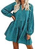 FANCYINN Cute Shift Tunic Dress for Women Long Sleeve Babydoll Split Neckline Juniors Christmas Tiered Swing Dresses Green Dot XS