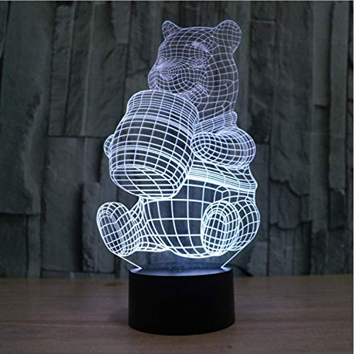 Creative 3D Illusion Lampe Acrylique 7 Couleurs Changeantes Forme De Winnie L'Ourson Led Veilleuses Usb Éclairage Table Lampes