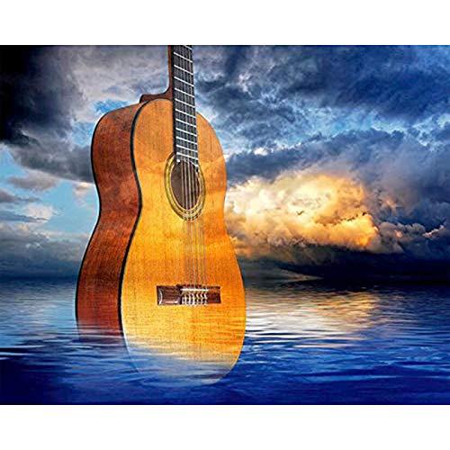 CHUANYI Erwachsenenmalerei Hauptdekoration Hintergrundbild,Gitarre im Meer 40 x 50 cm Holzrahmen, DIY Ölgemälde Anfänger Kinder Erwachsene Geburtstagsgeschenk