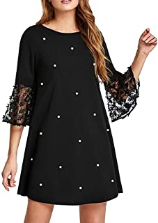 Women O-neck Casual Mini Dress, Ladies Solid Point Spliced Hollow Out Long Sleeve Dress