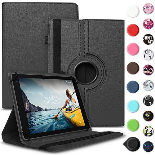 UC-Express Tablet Hülle kompatibel für Medion Lifetab P8502 Tasche Schutzhülle Hülle Cover aus Kunstleder Standfunktion 360° Drehbar, Farben:Schwarz