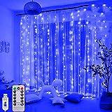 Cortina de Luces, 3M*3M 300 LED Luces de Cadena de Cortina Luz de Cortina USB con Mando a Distancia 8 Modos de Luz, Resistente adecuada para Decoración Ventana,Navidad,Fiestas(Azul)