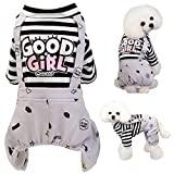Brocarp Dog Jumpsuit, Striped Puppy Pajamas, Cute Doggie Kitten Onesies Pjs Jumpers, Soft Cotton Shirt, 4 Legs Apparel Pet Clothes Outfits for Small Medium Large Dogs Cats Kitty Boy Girl (Grey, M)