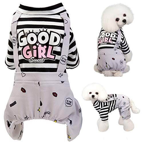 Brocarp Dog Jumpsuit, Striped Puppy Pajamas, Cute Doggie Kitten Onesies Pjs Jumpers, Soft Cotton Shirt, 4 Legs Apparel Pet Clothes Outfits for Small Medium Large Dogs Cats Kitty Boy Girl (Grey, S)