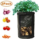 YOSICO 2-Pack Black 10 Gallon Garden Grow Bags Durable Plant Growing Bags Outdoor/Indoor Vegetables Bags with Handle Access Flap Waterproof Container Bags (2-Pack/Black)