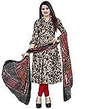 Rajnandini Women Cotton Un-Stitched Salwar Suit Material (JOPLVSM4071_Beige & Black_Free Size)