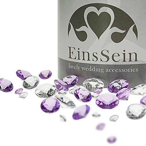 EinsSein 600x Diamantkristalle 12-10- 5mm Mix klar-Flieder Dekoration Streudeko Konfetti Tischdeko Hochzeit Diamanten Diamant Glas groß Geburtstag
