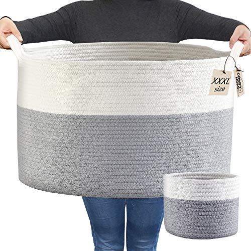 COMFY-HOMI 2pc Blanket Baskets Living Room 21''x21''x13.6'' Woven Rope Basket Laundry Hamper Baby Nursery Storage Organizer Laundry Baskets Bin XXXL Extra Large