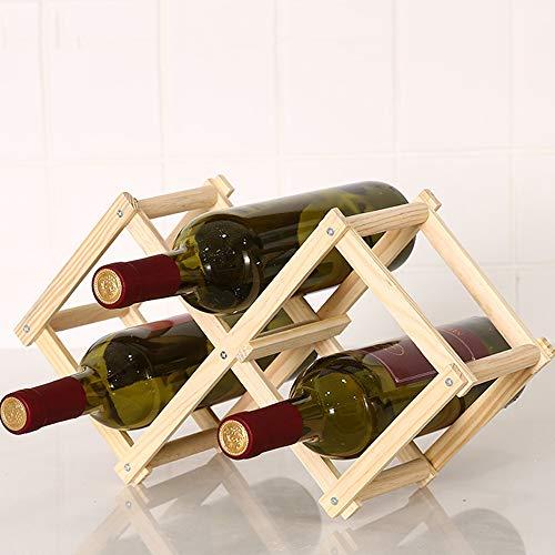 L-M-Yang Soportes de Madera para Botellas de Vino, botelleros de Madera Plegables, Soportes para gabinetes de Botellas, Estante de Madera, Organizador de estantes para Botellas