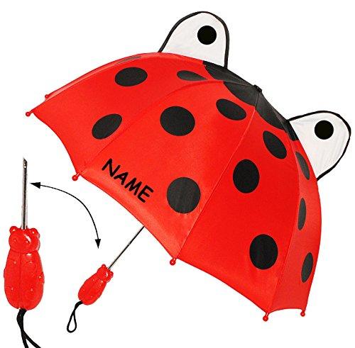 alles-meine.de GmbH 3-D Effekt _ Regenschirm -  Marienkäfer / Glückskäfer  - incl. Name - Kinderschirm - Ø 69 cm - Kinder Stockschirm - Schirm Kinderregenschirm / Glockenschirm..