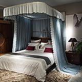 Mosquitero Cama matrimonial de la Cortina por Dormitorio, Mosquitera Inicio cifrado Engrosamiento Palacio aristocrático Style-Gray_1.5m mosquiteros para Cama (Color : Grayblue, Size : 1.8m)