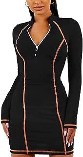 OLUOLIN Womens Long Sleeve Solid Color Sport Skater Dress Mini Skirt