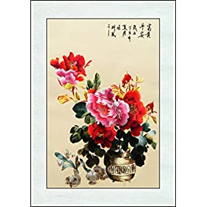 Silk Flower Arrangements Computer silk Embroidery peony and Narcissus flower for home décor